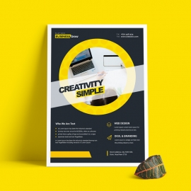 Dark Cricle Business Flyer With Yellow Accent