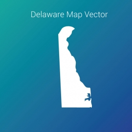 Delaware  Map With Gradient Color Background Vector Design
