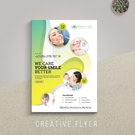 Dental Care Flyer With Circles Abstract