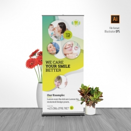 Dental Carel Rollup Banner With Circles Abstract