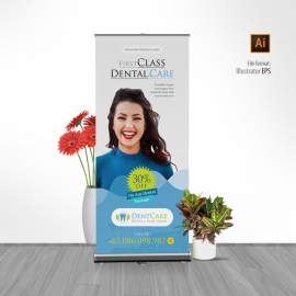 Dentist Clinic Dental Care Rollup Banner
