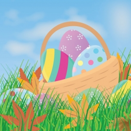 Easter Eggs with grass Background