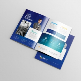 Egyptian Blue BiFold Brochure With Building Elements