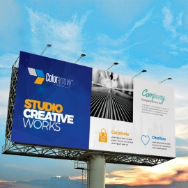 Egyptian Blue Billboard Banner With Building Elements