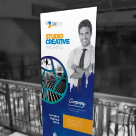 Egyptian Blue Rollup Banner With  Building Elements
