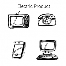Electric Product Vector Design By Line