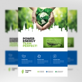 Energy Business Flyer With Blue Green World Cityscape