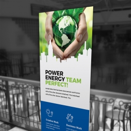 Energy Business Rollup Banner With Blue Accent
