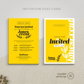 Event Invitation Postcard with Yellow Black