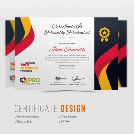 Expro Clean Brand Certificate Design