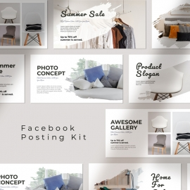 Facebook Posting Set Layout Social Media Template