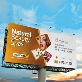 Fashion Beauty Salon Billboard Sinage With Golden Brown