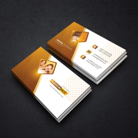 Fashion Beauty Salon Business Card With Golden Brown