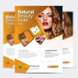 Fashion Beauty Salon Flyer With Golden brown Accent