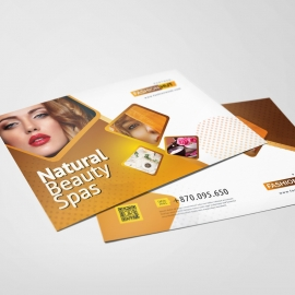Fashion Beauty Salon PostCard With Golden Brown Accent
