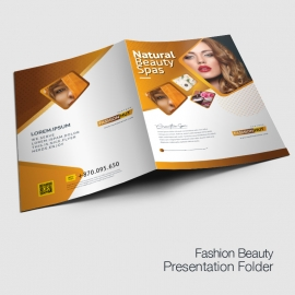 Fashion Beauty Salon Presentation Folder With Golden Brown