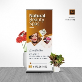 Fashion Beauty Salon Rollup Banner With Golden Brown