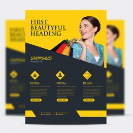 Fashion Sale Flyer With Dark And Yellow Accent