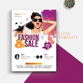 Fashion & Sale Flyer With Purple Accent