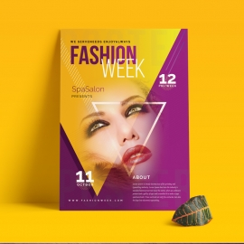 Fashion Week Flyer Poster With Triangle