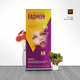 Fashion Week Rollup Banner With Triangle