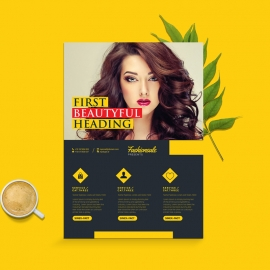 Fashon Sale Flyer With Dark And Yellow Accent
