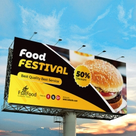 Fast Food Billboard Banner With Black Yellow  Accent
