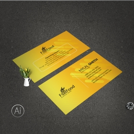 Fast Food BusinessCard With Yellow Accent