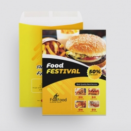 Fast Food Catalog Envelope With Yellow Black Accent