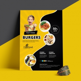 Fast Food Flyer With Black And Yellow Accent