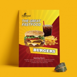 Fast Food Flyer With Red And Yellow Accent