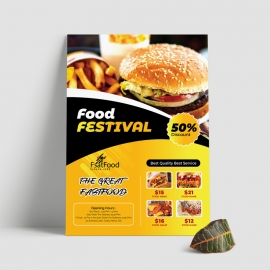 Fast Food Flyer With Yellow Black Accent