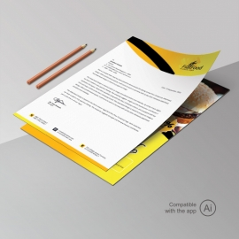 Fast Food Letterhead With Yelllow Black Accent