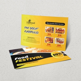 Fast Food PostCard With Yellow Black Accent