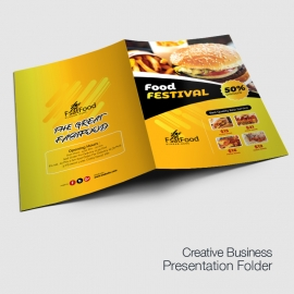 Fast Food Presentation Folder With Yellow Accent
