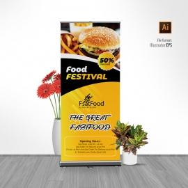 Fast Food Rollup Banner With Yellow Black Accent