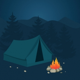 Fire Camp At Night Moment