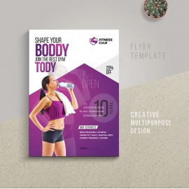 Fitness GYM Flyer Template With Purple Accent