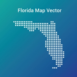 Florida Map with Dots And Gradient Color Background Vector Design