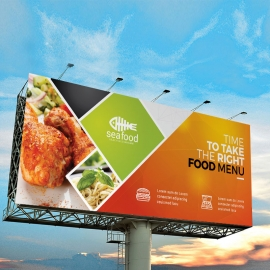 Food Menu Billboard Banner With Orange Accent