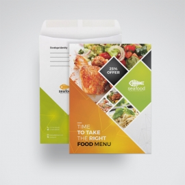 Food Menu C4 Envelope Catalog With Orange Accent