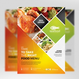 Food Menu Flyer With Orange Accent