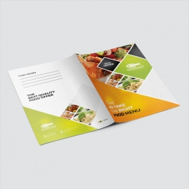 Food Menu Presentation Folder With Orange Accent