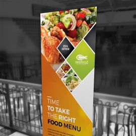 Food Menu Rollup Banner With Orange Accent