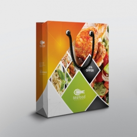 Food Menu Shopping Bag With Orange Accent