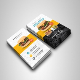 Food & Restaurant Business Card With Yellow Black Accent