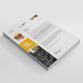 Food & Restaurant Letterhead With Yellow Black Accent