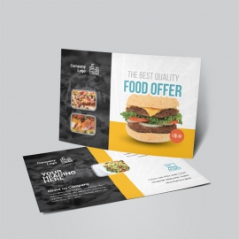 Food & Restaurant Post Card With Yellow Black Accent