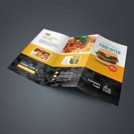 Food & Restaurant Trifold Brochure With Yellow Black