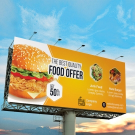 Foods and Restaurant Billboard Sinage With Yellow Accent